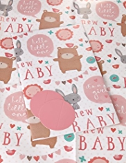 2 Cute Animals New Baby Sheet Wrapping Papers