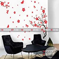 Modern House Red Cherry Blossom Flower and Butterfly Vinyl Mural Art Wall Sticker Decal from Modern House