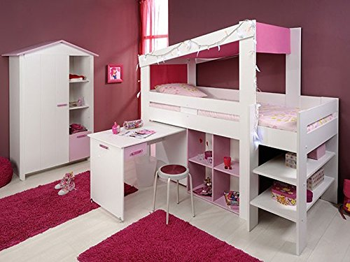 Kinderzimmer Beauty 6, weiß rosa, Schrank + Hochbett, Kinderbett, Himmelbett günstig