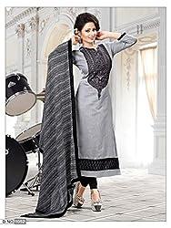 K Mart Embroidered Grey Churidar Sami Stitched Salwar Suit Dupatta Material
