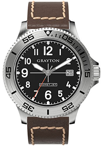 Grayton Comet.Jet Men's Quartz Watch with Black Dial Analogue Display and Brown Leather Strap GR-0014-003.6