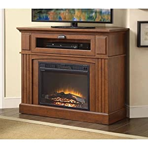 Brown Media Fireplace TV Stand Combo Space Saver width=