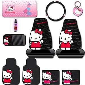 new 10pc hello kitty core auto car truck suv accessories interior combo kit bundle. Black Bedroom Furniture Sets. Home Design Ideas