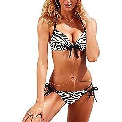 Cthur Damenmode Push-Up Gepolsterte BH Bikini Set Badeanzug Bademode Zebra Größe L