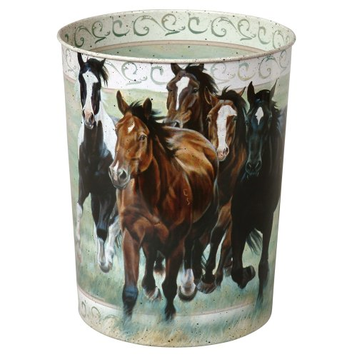 Running Horses Tin Western Waste Basket - Southwestern Bathroom Accessories (Running Horses Tin Waste Basket compare prices)