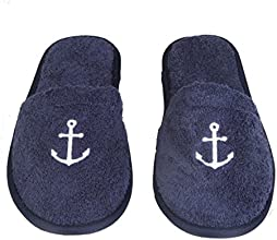 Arus Women39s Turkish Cotton Terry Cloth Anchor Embroidered Spa Slippers OSFM
