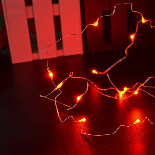 Two Sets of Red Copper String lights CrazyFirea Red String Starry Light+ 3m/9.8ft Wire+ 30 ...