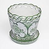 ポルトガル製 陶器 植木鉢 受け皿 セット 底穴あり 17cm ハンドメイド 手描き 緑 アズレージョ pfa-594g