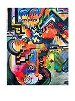 Legendarte Lienzo Composizione Colorata. Omaggio A Bach di August Macke