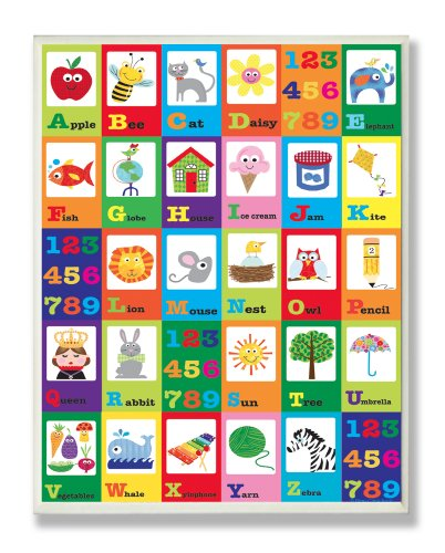The Kids Room by Stupell A is for Apple Alphabet Rectangle Wall Plaque