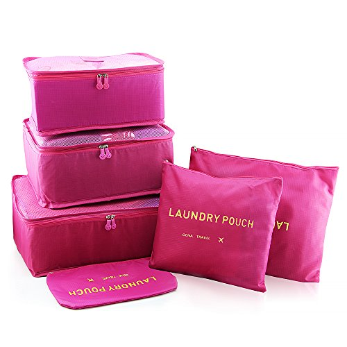 Bfun Luggage Packing Organizers Cubes Nylon Laundry Pouch 3 Cubes 3 Pouches Best Travel Accessories in Pack Pockets Ultra-thin