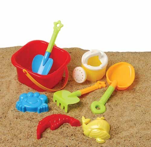 US Toy Beach Bucket Sand Castle Play Set (8 Piece) - 1