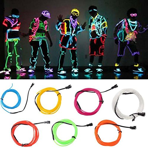 2M green Flexible EL Wire Rope Neon Light Glow Car Bar Dance Party Tube + Controller
