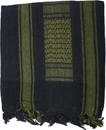 Black & Olive Drab Military Shemagh Arab Tactical Desert Keffiyeh Scarf
