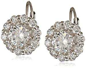 "CZ by Kenneth Jay Lane ""Floral"" 5 cttw Clear Lever with Brilliant Floral Drop Earrings"