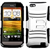 MYBAT AHTCONEVHPCSAAS002NP Advanced Armor Rugged Durable Hybrid Case with Kickstand for HTC One V - 1 Pack - Retail Packaging - White/Black