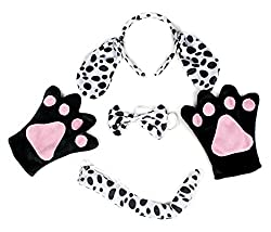 Dalmatians Dog Headband Bowtie Tail Gloves 4pc Costume for Child Birthday Party