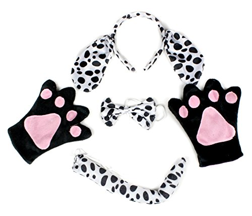 Dalmatians Dog Headband Bowtie Tail Gloves 4pc Costume for Child Halloween Party