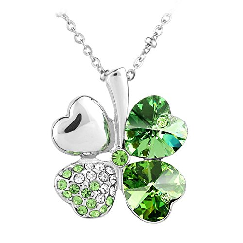 Le Premium® - Collana con ciondolo quadrifoglio, con cristallo Swarovski Elements, in confezione regalo, colore: Verde
