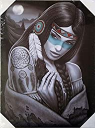 DGA Day of the Dead Native American Stretched Wood Frame Canvas Wall Art 12x16 Inches - Dreamcatcher
