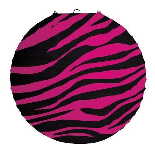 Pink Zebra Stripe Print Hanging Lanterns for an 80s Party