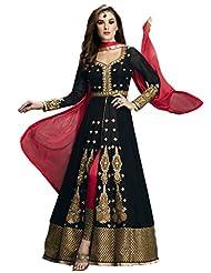 Clickedia Women Georgette Embroidered Black & Red Center Cut Salwaar Suit Dupatta - Dress Material