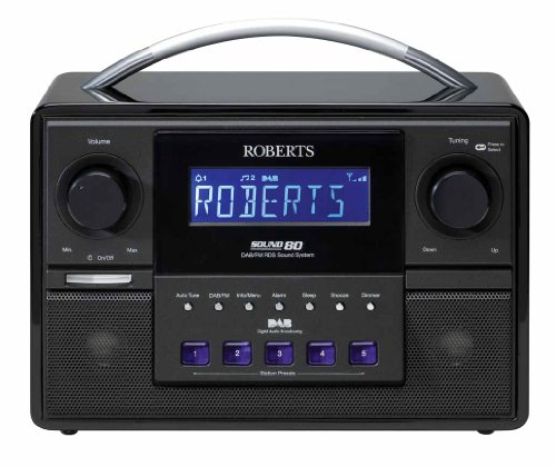 roberts sound 80 dab fm rds stereo digital radio with 3 way speaker system. Black Bedroom Furniture Sets. Home Design Ideas
