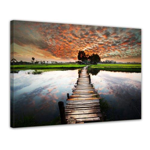 Bilderdepot24 Leinwandbild tropischer Fluss - 70x50 cm 1 teilig - fertig gerahmt, direkt vom Hersteller
