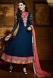 Aayushman Womens Viscose Anarkali Semi-Stitched Dress Material (Jnx7506 _Navy Blue)