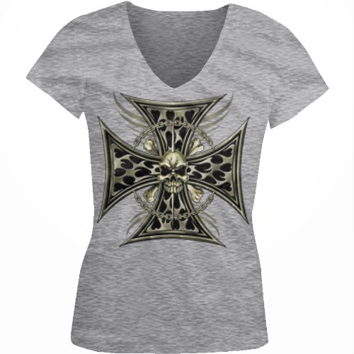 Iron Cross Skull Chain Ladies Junior Fit V-neck T-shirt, Chopper Motorcycle Iron Cross Skull And Crossbones Design Junior's V-Neck Tee(Sport Grey, Large)
