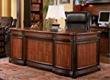 Home Office Executive Desk in Two Tone Warm Brown Finish