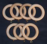 Solid Wood Pole Rings for Window Drapes, Unfinished 7/bag