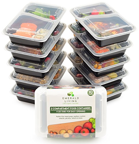 [10 pack] 2 Compartment BPA Free Meal Prep Containers. Reusable Plastic Food Storage Containers with Lids. Stackable Microwavable Freezer & Dishwasher Safe Lunch Box Container Set + EBook [30 oz] (Lunch Container Disposable compare prices)