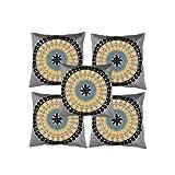 Rajrang Gray Polydupion Designer Cushion Cover Set Of 5 Pcs #Ccs04375