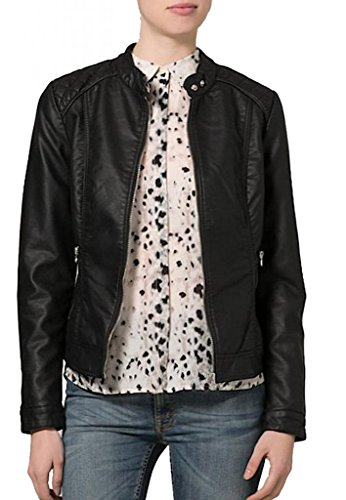 KGN FASHION Women Cow Leather Jacket WL089 S Black