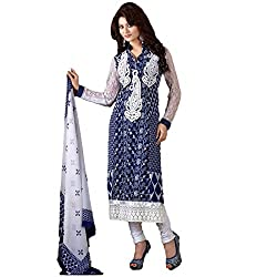 Rozdeal Women Georgette Embroidered Unstitched Half Sleeve Blue and White Anarkali Suit