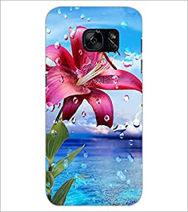 PrintDhaba Flower with Droplets D-1211 Back Case Cover for SAMSUNG GALAXY S7 (Multi-Coloured)