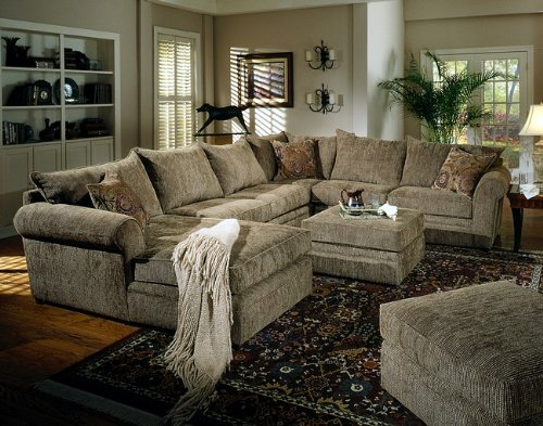 Brown Chenille Fabric Sectional Sofa Couch w/Coffee Table Ottoman
