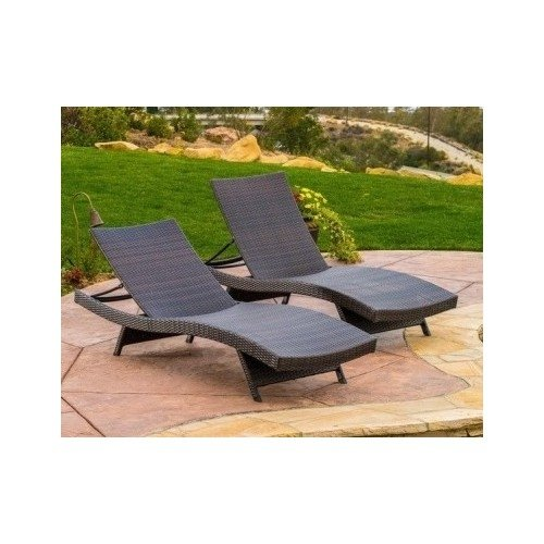 Home toscana outdoor brown wicker lounge pool patio chairs for Brown chaise lounge outdoor