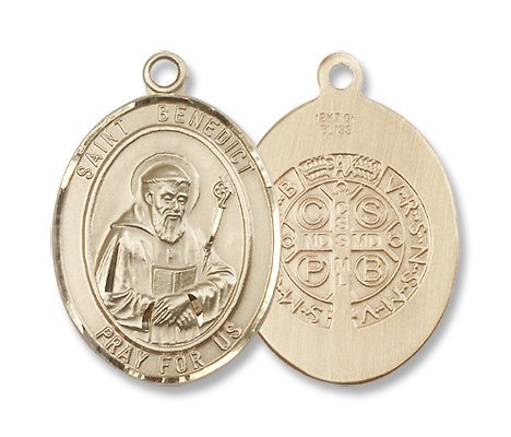 St. Benedict Patron Saints Gold Filled St. Benedict Pendant Stainless Gold Heavy Curb Chain