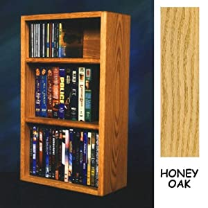 "Solid Oak CD DVD/VHS Combo Wall Floor or Shelf Mount Cabinet - Holds 26 CDs AND 44 DVDs or 24 VHS (Honey Oak) (23.625""H x 14.5""W x 6.75""D)"
