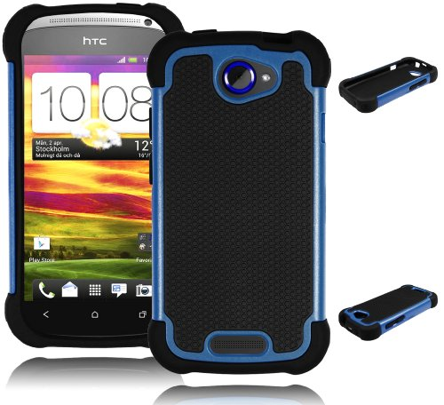 Bastex Double Layer Hard Hybrid Gel Case / Cover for HTC One S – Black & Blue