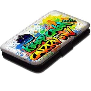Keep Calm 10007, Keep Calm And Carry On, Etui Personnalisé Coque Housse Cover Coquille en Cuir Noir avec Dessin Coloré pour Samsung Galaxy S3 i8190 Mini.