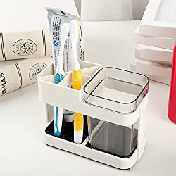 Rian's Online 1 Cup Toothbrush Toothpaste Stand Holder Bathroom Storage Organizer,Plastic