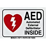 "Brady 102714 3-1/2"" Width x 5"" Height B-302 Polyester, Red and Black on White AED Label, Legend ""AED Automated External Defibrillator"""