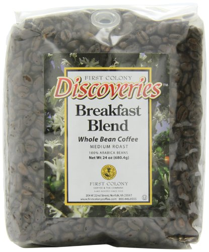 First Colony Whole Bean Coffee, Breakfast Blend, 24-Ounce