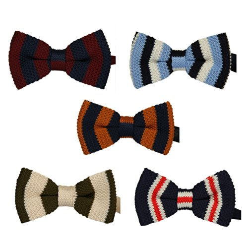 Toptie Men'S Tuxedo Pre-Tied Knitted Bow Ties Wholesale 5Pc Mixed Lot Set6