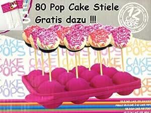 Pop Cake Maker + 80 Stiele Silikonform Silikonbackform PopCake Kuchen am Stiel