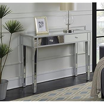 Convenience Concepts Gold Coast Mirrored Desk Vanity, Silver/Mirror