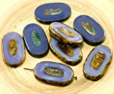 2個入り)(鉄道模型大型ピカソ茶色の絹紫平楕円形のテーブル切り刻まれのチェコガラスビーズの焦点ペンダント26mm×15mm